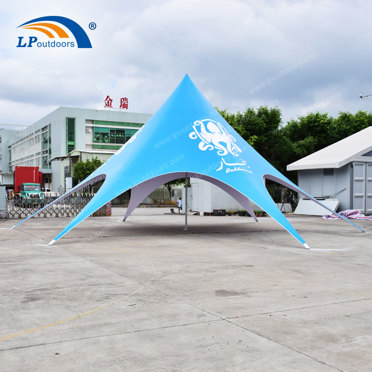 China Factory Customized Logo Blue Star Shade Tent For Event Rental